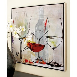 Wine Glasses Design Wood Framed Canvas (Set of 2)