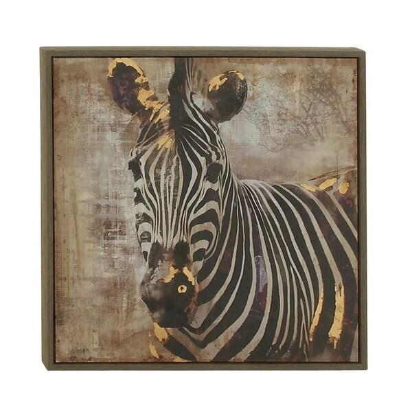 Modern 31 Inch Wooden Framed Zebra Portrait Canvas Art by Studio 350 ...