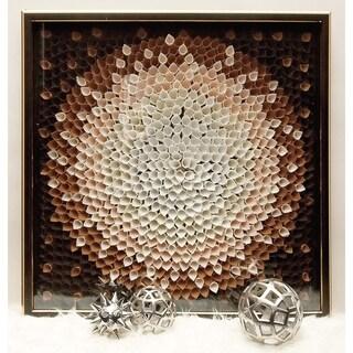 Flower Petal Design Wood Framed Fabric Art