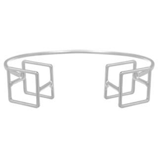 Adoriana Silver Over Brass Cube Cuff Bracelet