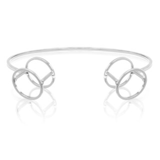 Adoriana Silver Over Brass Circle Cuff Bracelet