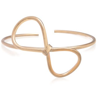 Adoriana Gold Over Brass Bow Bangle Bracelet