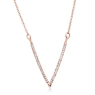 Adoriana Rose Gold Over Brass Crystal V Necklace
