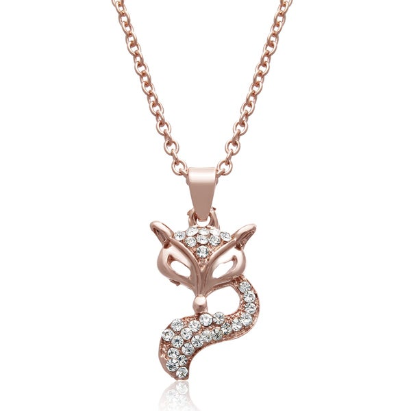 Adoriana Rose Gold Over Brass Crystal Fox Necklace