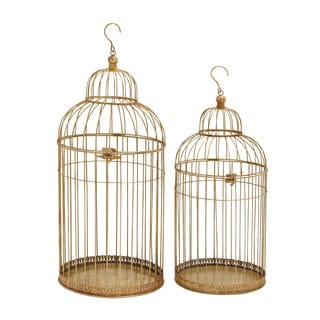Antiqued Gold-colored Metal Bird Cage (Set of 2)