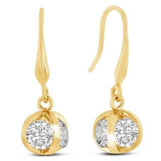 Adoriana Yellow Gold Basket Dangle Earrings