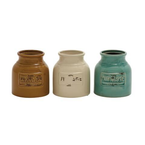 Benzara Ceramic Cutlery Jar Set (Set of 3)