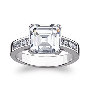 Sterling Silver Engraved Asscher-cut Cubic Zirconia Engagement Ring