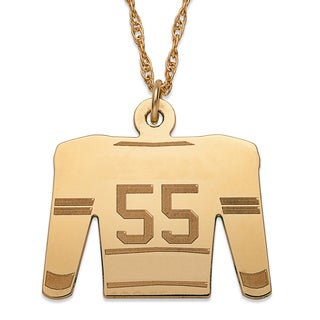 Gold over Sterling Silver Personalized Hockey Sweater Necklace