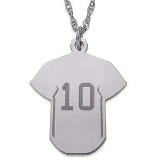 Sterling Silver Personalized Baseball Jersey Necklace