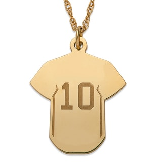 Gold over Sterling Personalized Baseball Sweater Necklace