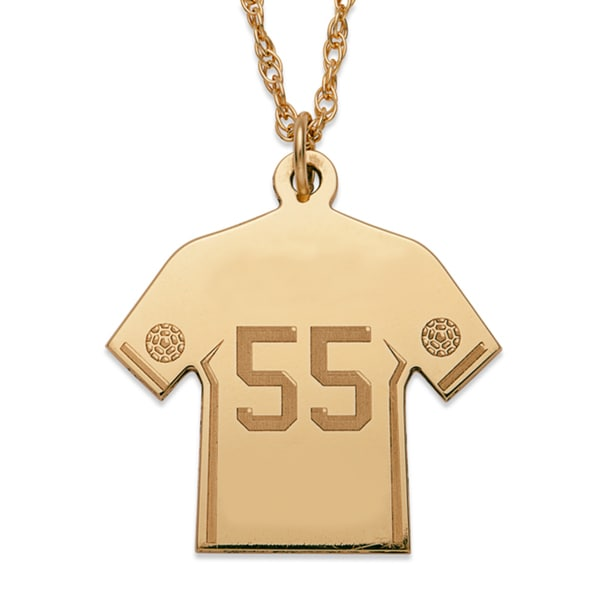 Gold over Sterling Personalized Soccer Sweater Necklace