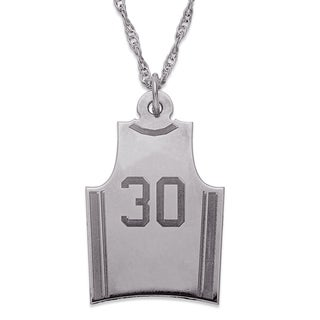 Sterling Silver Personalized Basketball Jersey Pendant Necklace