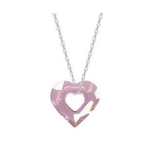 Pori Sterling Silver Austrian Crystal Antique Pink Open Heart Necklace