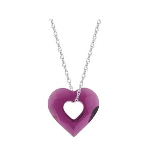 Pori Sterling Silver Austrian Crystal Amethyst Open Heart Necklace