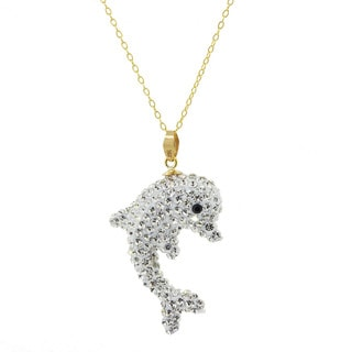 Pori 14k Yellow Gold 3D Dolphin Clear Pave Crystal Necklace