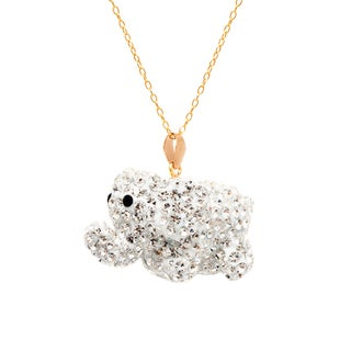 Pori 14k Yellow Gold 3D Elephant Clear Pave Crystal Necklace
