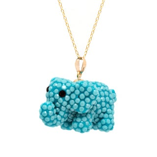 Pori 14k Yellow Gold 3D Elephant Turquoise Pave Crystal Necklace