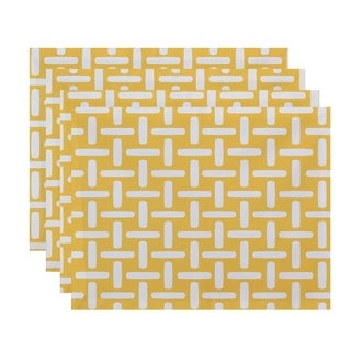 Geometric Basket Weave Print Table Top Placemat (Set of 4)