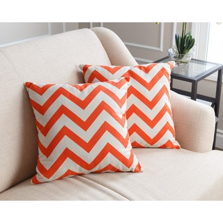 ABBYSON LIVING Jay Pillow Collection 18-inch Orange Chevron Throw Pillows (Set of 2)