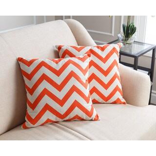 Abbyson Orange Chevron Pillows (Set of 2)