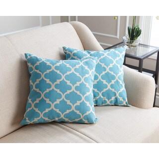 ABBYSON LIVING Aubrey Pillow Collection 18-inch Light Blue Lattice Throw Pillows (Set of 2)