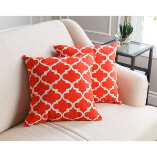 ABBYSON LIVING Aubrey Pillow Collection 18-inch Red Lattice Throw Pillows (Set of 2)