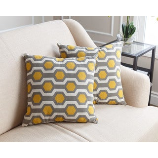 ABBYSON LIVING Ariel Pillow Collection 18-inch Yellow Pattern Throw Pillows (Set of 2)