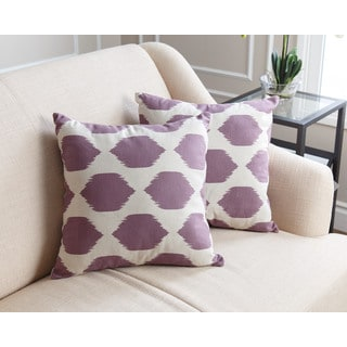 ABBYSON LIVING Harper Pillow Collection 18-inch Purple Pattern Throw Pillows (Set of 2)