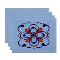 Geometric Floral Burst Print Table Top Placemat (Set of 4)