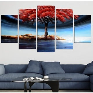 Design Art 'Powerful Tree on the Water' Forest Oil Painting - 60x32 - 5 Panels Diamond Shape