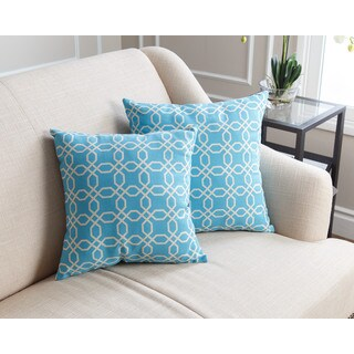 ABBYSON LIVING Avery Pillow Collection 18-inch Sky Blue Pattern Throw Pillows (Set of 2)