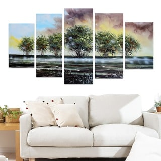 Design Art 'Family of Trees on the Water' Forest Oil Painting