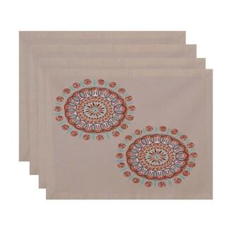Geometric Dual Spiral Burst Print Table Top Placemat (Set of 4)