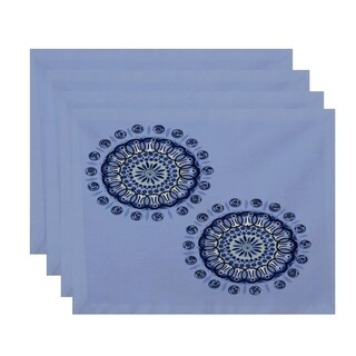 Geometric Dual Spiral Burst Print Table Top Placemat (Set of 4)