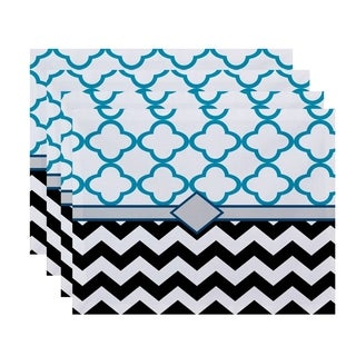 Mixed Morrocan and Chevron Geometric Print Table Top Placemat (Set of 4)