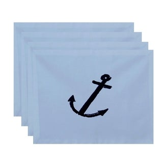 Coastal Nautical Anchor Print Table Top Placemat (Set of 4)