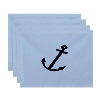 Coastal Nautical Anchor Print Table Top Placemat (Set of 4)