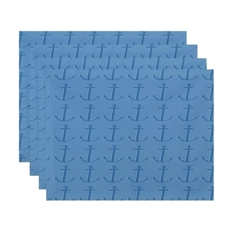 Two-tone Anchor Coastal Print Table Top Placemat (Set of 4)