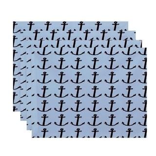 Black Anchor Coastal Print Table Top Placemat (Set of 4)