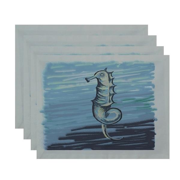 Seahorse Coastal Print Table Top Placemat (Set of 4)