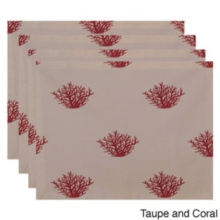 Two-tone Coral Coastal Print Table Top Placemat (Set of 4)