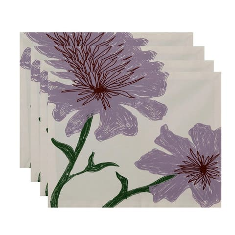 Dual Floral Print Table Top Placemat (Set of 4)