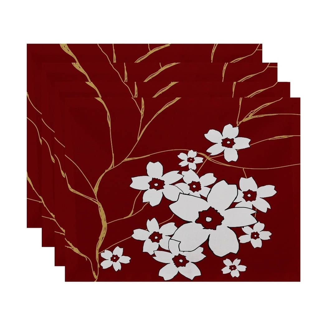 Floral Branch Print Table Top Placemat (Set of 4) in Red(...