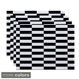 Mixed Checkered Stripe Print Table Top Placemat (Set of 4)