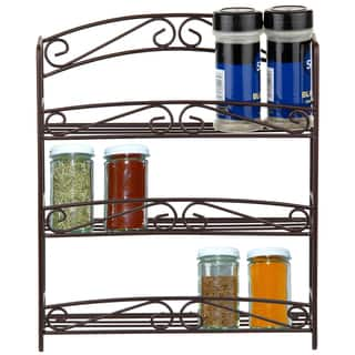 Sweet Home Collection 3-tier Bronze Spice Rack with Classic Scroll Design|https://ak1.ostkcdn.com/images/products/10207509/P17330395.jpg?impolicy=medium