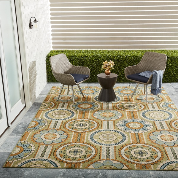 Nourison Moroccan Indoor/ Outdoor Yellow Rug
