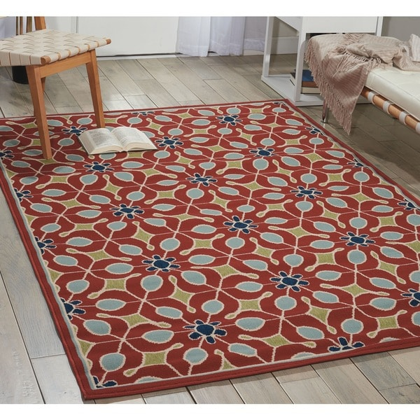 Nourison Caribbean Indoor/Outdoor Rust Rug - 7'10 x 10'6