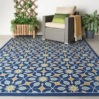 Nourison Caribbean Indoor/Outdoor Navy Rug (9'3 x 12'9)