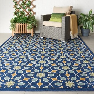 "Nourison Caribbean Indoor/Outdoor Navy Rug - 5'3"" x 7'5"""